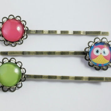 Owl Hair Clip, Owl Bobby Pins, Hair accessories, Owl Jewelry, Birthday Gift, Set of 3, Hot Pink, Green, Hair Pin, Best Friend Gift,Owl Print