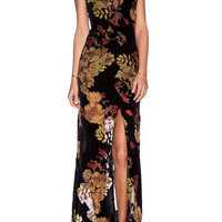 Black Floral Print Mesh Sleeveless V-Neckline Front Slit Casual Dress