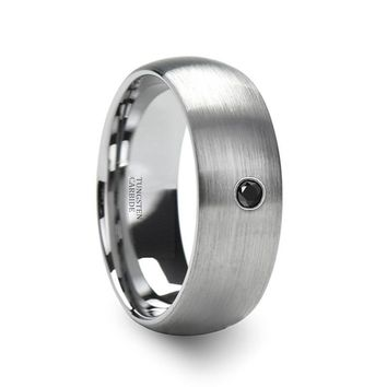 VAYU Domed Silver Brushed Men's Tungsten Wedding Band with Black Diamond in Center - 6MM - 8MM