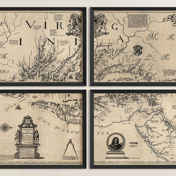 Antique Map of Virginia and Maryland (1673) by Augustine Hermann - Set of 4 Prints - Archival Reproduction
