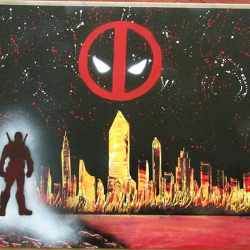 large dead pool spray paint art,dead pool art,superhero poster wall art,marvel comics,not art print ,dead pool birthday,gift for him,movie