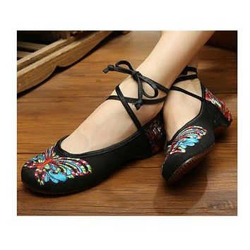 Vintage Chinese Embroidered Floral Shoes Women Ballerina Mary Jane Flat Ballet C
