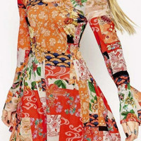 Scoop Neck Long Sleeve Colorful Floral Print A-Line Mini Dress