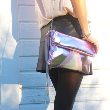 New Year's Party Clutch // Fold Over Leather Bag // Holographic pink metallic Purse // Cross Body // Wedding