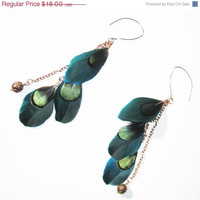 On Sale Iridescent Green Feather Earrings 3 tier by cojospace