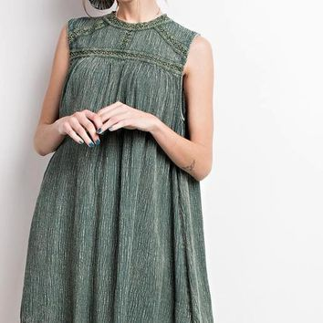 Oil Wash Mock Neck Tunic Dress - Wormwood Green