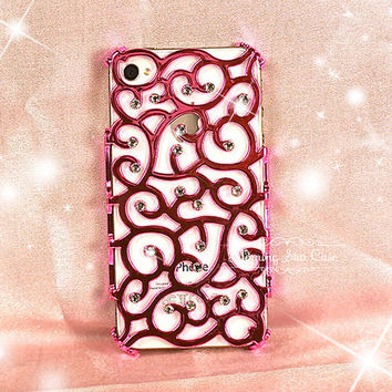 iPhone 4/4s Case - Bling iPhone Case, Crystal iPhone Case, iPhone Cover - Hot Pink Swirl Case with Rhinestone iPhone 4/4s Hard Case - 141