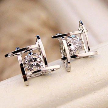 Royal Black Rhinestone Will Crystal Square Stud Earrings for Women by Ritzy