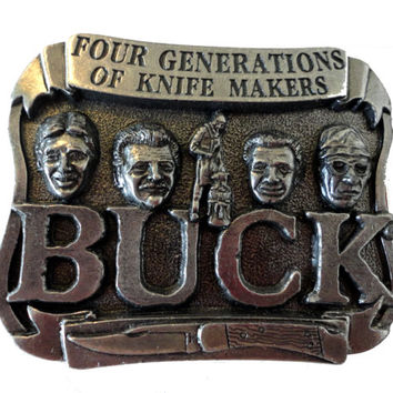 vintage BeLT BuCKLE BUCK KNIVES Smoky Mountain Knife Works pewter Tennessee