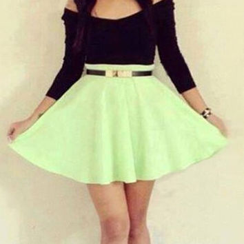 Black and Green Slash Neck Long Sleeve Dress