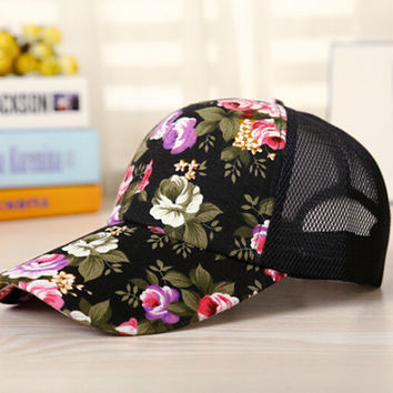 Black Floral Cap Hat Summer Gift 22