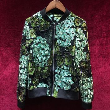New Designer Runway Autumn Short Jacket Fashion High Quality Long Sleeve Stand Collar Embroidery Beads Green  Short Overcoat