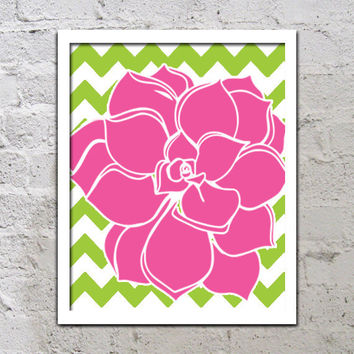Bold Colorful Dahlia Flower Chevron Fuchsia Pink Lime Green Decor Wall Art Poster Nursery Print Bedroom Bathroom