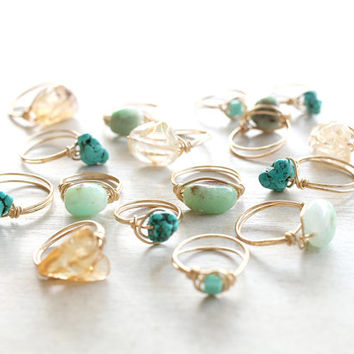 Gold Wire wrapped Turquoise Cube Ring