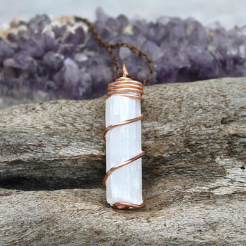 Selenite Pendant - Wire Wrapped Stone Necklace - White Stone Jewelry - Bridesmaid Gift - Wedding Jewelry Bohemian Jewelry - Wiccan Necklace
