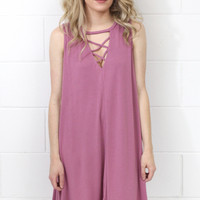 Modal Crisscrossed Swing Tank Dress {Mauve}