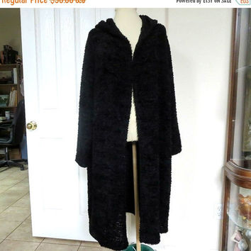 Black Boucle Hooded Sweater Coat Vintage