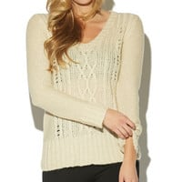 V-Neck Cable Knit Sweater | Wet Seal
