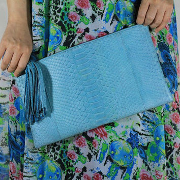 Debussy Genuine Exotic Python Clutch in Soft Salted Egg Color