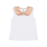 Kardashian Kids Girls' 2 Piece White/Pink Playwear Set with Georgette Back Tank Top and Metallic Leggings - Toddler