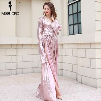 Sexy New summer female party dress Deep V sequin long sleeve two split maxi dress