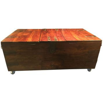 Pre-owned Vintage Wooden Chest with Industrial Style Casters