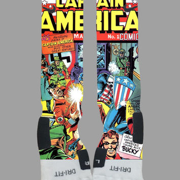 Captain America - Marvel Comics - The Avengers - Custom Nike Elite Socks - Socktimus Prime - Comic Book