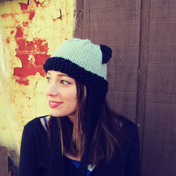 Knitted Bear Ear Hat Black Gray Grey Womens / by AutumnAndAmber