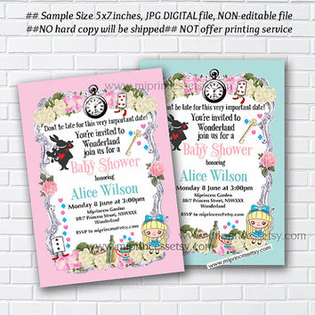 alice in wonderland invitation baby shower girl alice baby shower