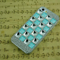 Cell phone cover i5 phone bling blue i4 phone case rhinestone iphone 5 case iphone 4 case iphone 5c cover, samsung galaxy s3 s4 s5 skin case