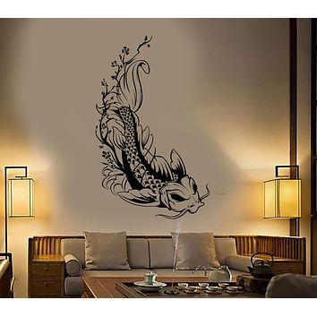 Vinyl Wall Decal Asian Style Japanese Koi Carp Fish Sakura Tree Stickers Unique Gift (1935ig)