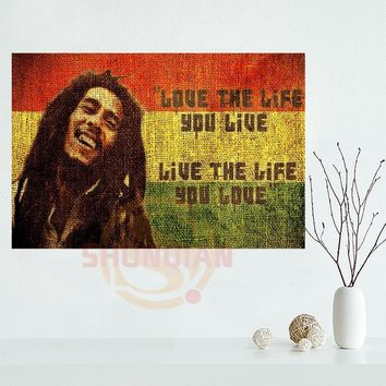 Removable Mural Home Decor Canvas Poster Make Your Horse Warm Custom Bob Marley No Woman No Cry Big 20x30 inch Print Poster