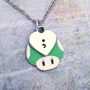 Extra Life Semicolon Necklace, One Up Necklace, Extra Life Necklace, Suicide Jewelry,Survivor Jewelry, Semicolon Jewelry, Suicide Awarenes