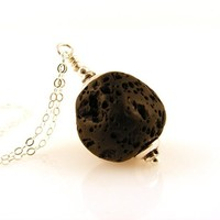 "Essential Oil Diffuser Necklace with Lava Stone Pendant on Sterling Silver Chain 18"" Long"