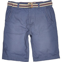 River Island MensBlue Tokyo Laundry belted shorts