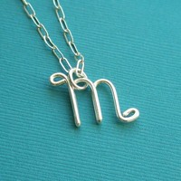 Letter M Necklace small by PianoBenchDesigns on Etsy