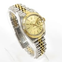 ROLEX LADIES OYSTER PERPETUAL DATEJUST TWO TONE 26MM WATCH MODEL 69173 GOLD