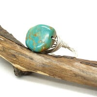 Natural turquoise ring, wire wrapped ring, turquoise jewelry, genuine turquoise, turquoise and silver ring, boho jewelry