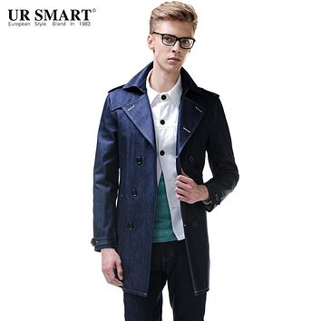 URSMART Brand in the men's long trench coats and 2015 indigo blue denim trench coat
