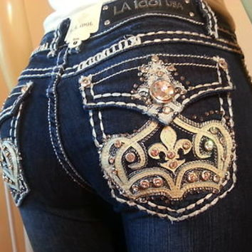 Miss LA Idol  JEANS ♥ CROWN DE LIS BOOTCUT ♥