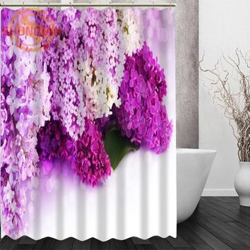Lilac flowers Shower Curtain Eco-friendly Modern Fabric polyester Custom Bath Curtains Home Decor Curtains