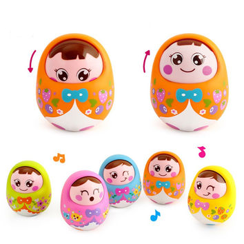 Cartoon Tumbler Doll Roly-poly Mobile Musical Rattles Toys For baby toys for babies Mini Girl baby Toy Matlyoshka Tumbler doll