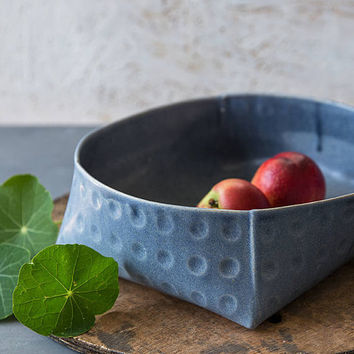 Blue Ceramic Bowl, Large Serving Bowl, Modern Bowl, Blue Salad Bowl, Pottery Fruit Bowl, Stoneware Bowl, Rustic Bowl, Couple Wedding Gifts