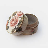 Shabby chic ring bearer pillow. Tiny Wooden ring box. Wedding box, proposal box, engagement box. Rustic jewelry box. Ivory pink floral box.