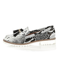 Black snake print cleated sole loafers - loafers / pumps - shoes / boots - women