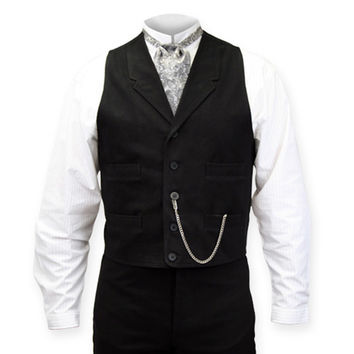 Livingston Black Brushed Cotton Vest