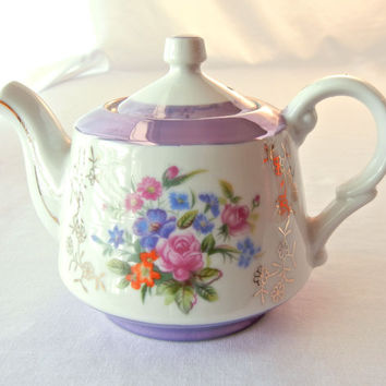China Teapot, Iridescent Lavender Glaze with Floral and Gold Details, Armbee Made in Japan, 50s