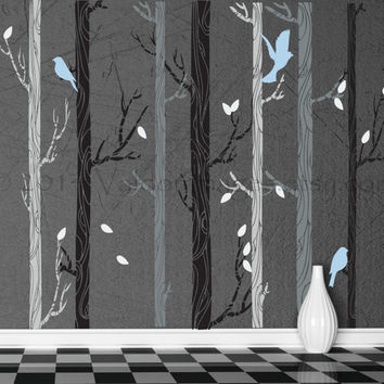 Powder Blue Birds Nestled In Birch Trees Wall Decal, Decal, Wall Graphic,  Vinyl