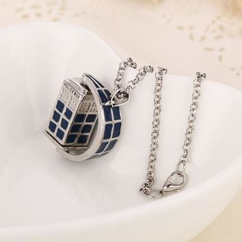 Vintage Necklace Doctor Who Police Box Pendant Necklace Fashion
