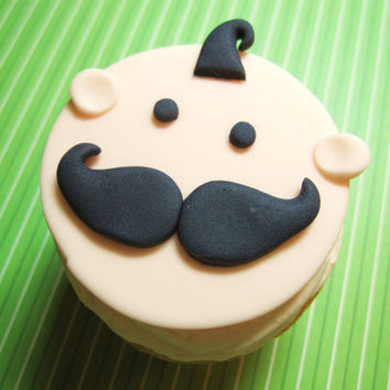 Mustache baby cupcake topper for baby boy by AppleBlossomCupcakes